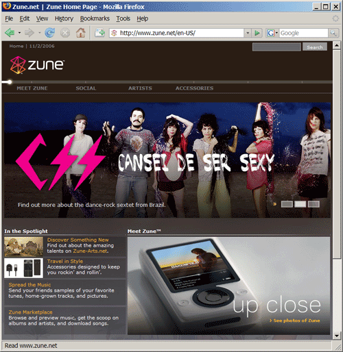 CSS (Cansei de Ser Sexy) is featured on the front page of Zune's web site