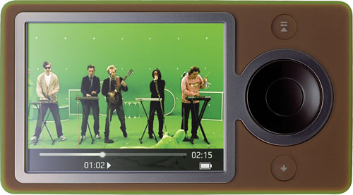 """Hot Chip's """"Over & Over"""" is being played on a brown Zune device"""